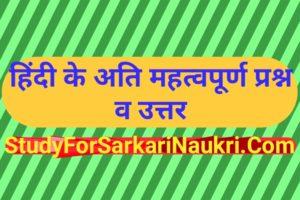 हिंदी के अति महत्वपूर्ण प्रश्न | Hindi Ke Important Question
