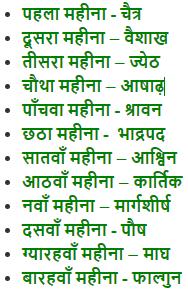 months name in hindi हिंदी महीनों के नाम