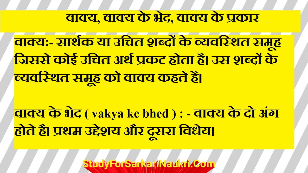 वाक्य – परिभाषा व अंग, प्रकार | vakya in hindi