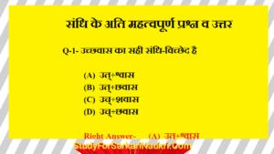 sandhi objective question in hindi | संधि के महत्वपूर्ण प्रश्न | संधि के प्रश्न उत्तर